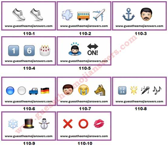 Guess The Emoji Level 110 Answers