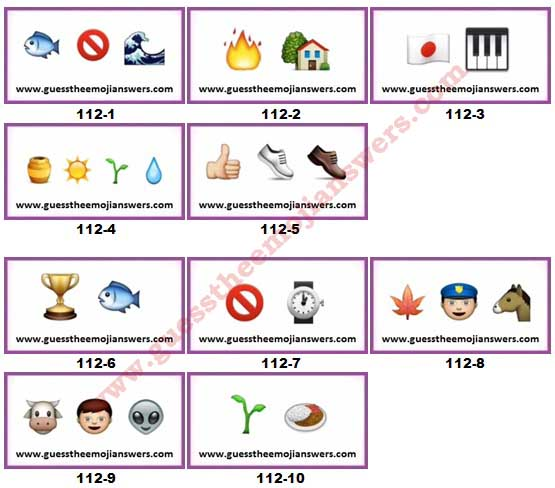 Guess The Emoji Level 112 Answers