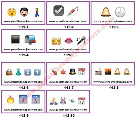 Guess The Emoji Level 113 Answers